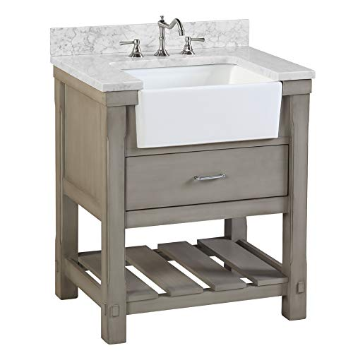 Charlotte 30-inch Bathroom Vanity (Carrara/Weathered Gray): Includes a Carrara Marble Countertop, Weathered Gray Cabinet with Soft Close Drawers, and White Ceramic Farmhouse Apron ()