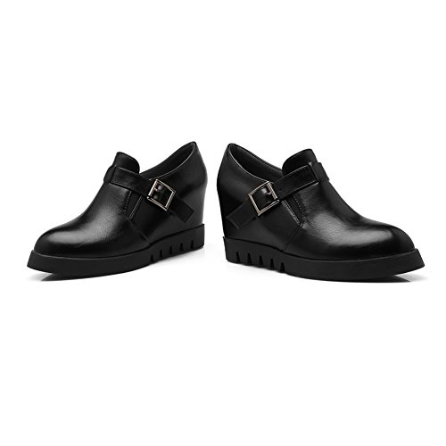 Pointed Fashion goring Women's Platform Black Wedge Toe Heel Elastic Ankle With Bootie Boots Buckle fereshte Hidden H80dxqd