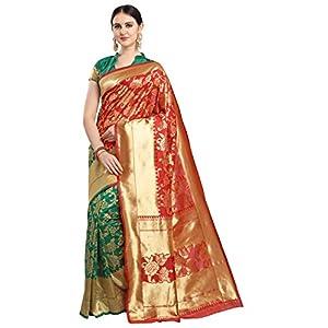 EthnicJunction Women's Silk Blend Half & Half Saree With Blouse Piece