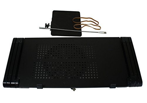 HZMK Portable Adjustable Aluminum Laptop Stand For Bed w/Cooler Fan/ Mouse Pad /LED Light For 17 Inches Laptops Black by HZMK (Image #5)