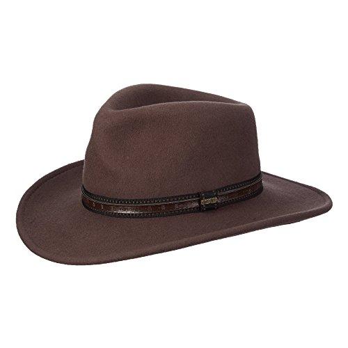 Dorfman Pacific Scala Men s Crushable Wool Outback Hat Khaki - - Import It  All e54eb9b7811