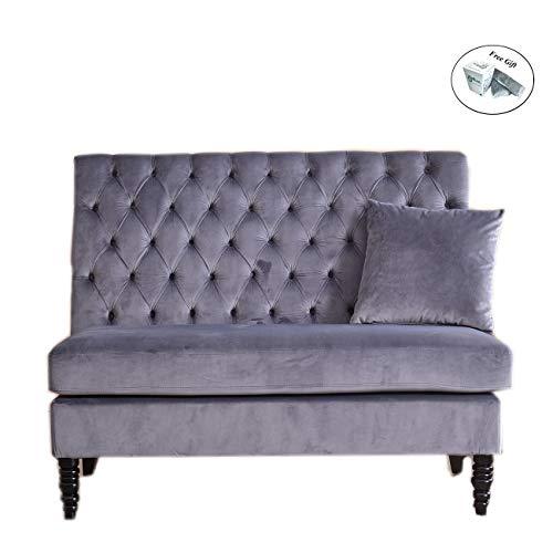 Velvet Modern Tufted Settee Bench Bedroom Sofa High Back Love Seat Grey Kitchen