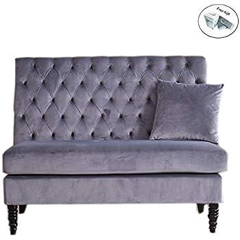 velvet modern tufted settee bench bedroom sofa high back love seat grey kitchen. Black Bedroom Furniture Sets. Home Design Ideas