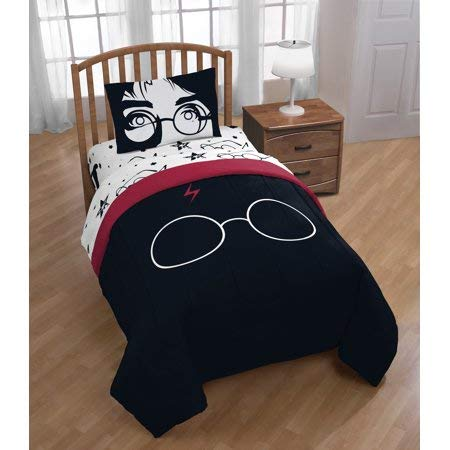 Warner Brothers Harry Potter - Jay Franco Harry Potter Always 4 Piece Twin Bed Set, Black