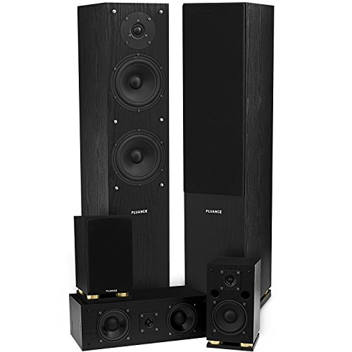 Fluance SXHTB-BK HD 5.0 Channel Surround Sound Home Theater Speaker System