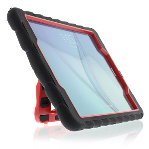 GumDrop Hideaway Case with Stand Designed for Samsung Galaxy Tab A 9.7 Inch (SM-T550) Tablet for K-12 Students, Teachers, Kids - Black/Red, Rugged, Shock Absorbing, Extreme Drop Protection