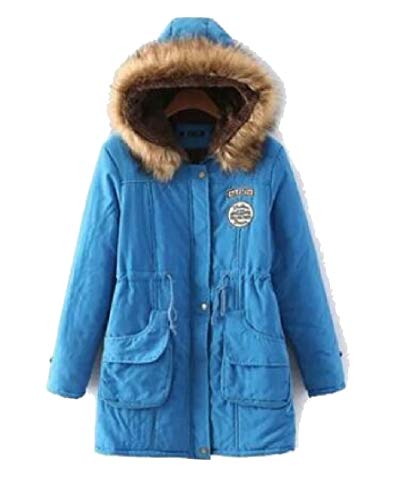 Jacket EKU Women Lake Fur Warm Collar Coat Blue Outwear Long Parka Hooded 0ArUdq0w