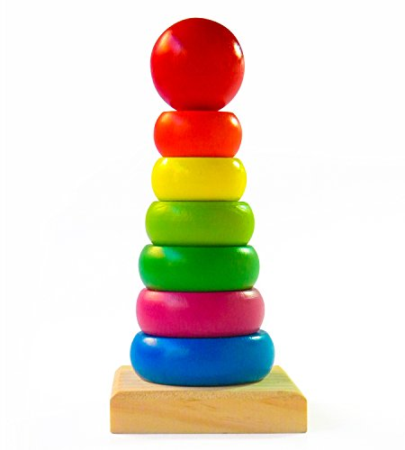 Wooden Stacking Cones (Rainbow Stacking Rings | Wooden Educational Toys to Stimulate Brain Development & Fine Motor Skills | All-Natural BPA-Free Rainbow Stacker for Educational Play | Classic Toys)