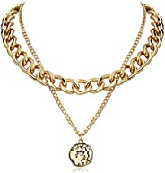FAMARINE Gold Choker Chain Cuban Link Necklace for Women 4MM, Brandy Coin 2 Layered Necklaces for Men Teen Gir