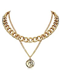 FAMARINE Gold Choker Chain Cuban Link Necklace for Women 4MM, Brandy Coin 2 Layered Necklaces for Men Teen Girls Birthday Gift, 18K Gold
