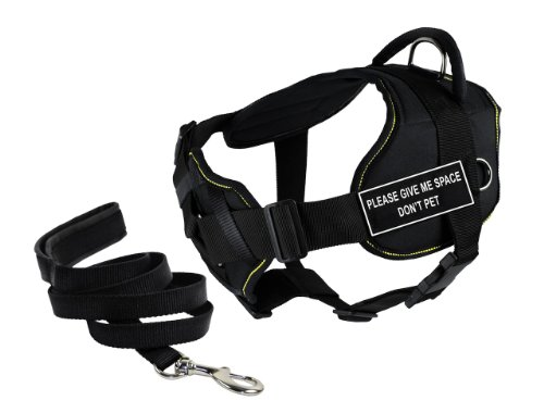 Dean & Tyler's DT Fun Chest Support ''PLEASE GIVE ME SPACE DO NOT PET'' Harness, X-Large, with 6 ft Padded Puppy Leash. by Dean & Tyler