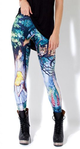 [Sunnydate Women's New 2014 Fashion Seamless Printed Alice in Wonderland Leggings, YC-SW-8525, Free] (Wonderland Outfit)