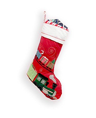 Large Quilted Christmas Holiday Stocking/Snowman,Reindeer,Train,Airplane,Santa,Ballerina (TRAIN)