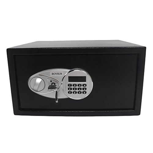 - ROVSUN Digital Security Safe Box 1.0 Cubic Feet Electronic Cabinet with Combination Lock&Solid Steel Construction, Great for Home Office Hotel Business Jewelry Money Passport (Included Battery)