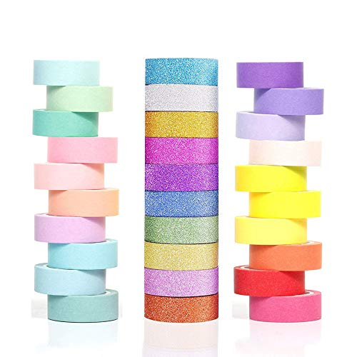 Phantomon Washi Tape Set 30 Rolls 15mm 0.6 inch Wide Decorative Masking Tape Multi-Purpose Tape in Solid, Glitter Rainbow Color for Kids Tape DIY Sewing Scrapbooking Bullet Journal