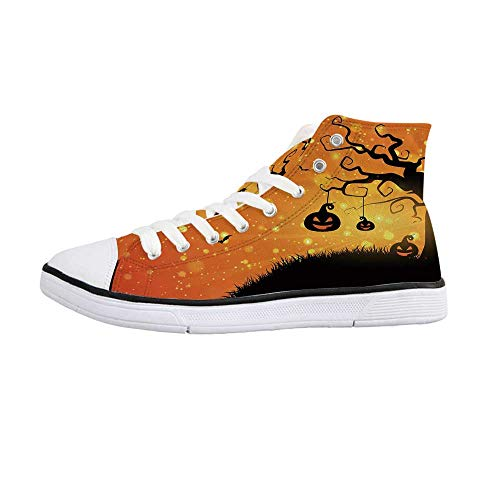 Halloween Comfortable High Top Canvas Shoes,Magical Fantastic Evil Night Icons Swirled Branches Haunted Forest Hill Decorative for Women Girls,US 7 -