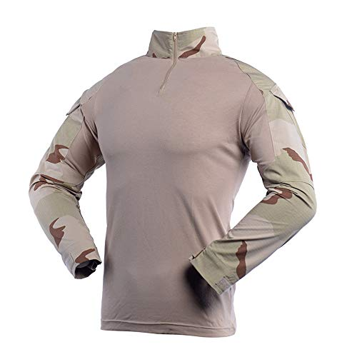 Camo Combat T Shirt Men's Long Sleeve Tactical Shirt Military Army Airsoft Hunting T-Shirts Tricolor Desert