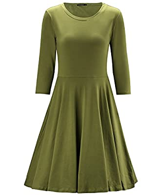OUGES Women's 3/4 Sleeve Casual Cotton Flare Dress