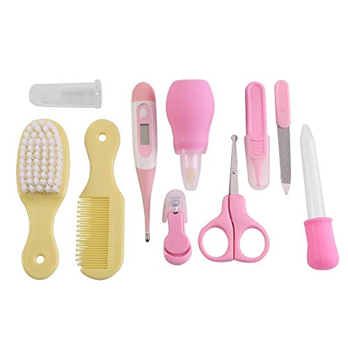 Bath 10Pcs Set Infant Baby Health Care Kit Nail Hair Thermometer Grooming Sets Daily Nursery Baby Care Kit for Infants Newborns Kids Boys and Girls(Pink) Shower (Color : Pink+Yellow() from Bxhbaihuomattr