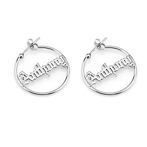 (Personalized Old English Hoop Name Earrings for Women Gothic Style Custom Nameplate 925 Sterling Silver Earring (Silver))