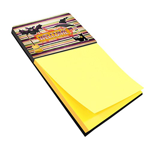 Caroline's Treasures Witch Costume and Broom on Stripes Halloween Refillable Sticky Note Holder or Postit Note Dispenser, 3.25 by 5.5