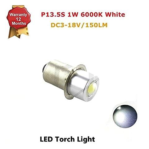 1x P13.5S 1W LED Upgrade Flashlights Bulb for C/D 3-14V Torch Light, 120 Lumens, White 6000k, Positive Ground/Reverse Polarity