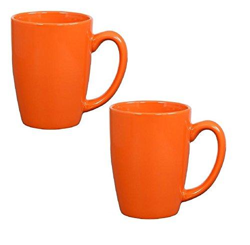 Orange Coffee Mug - Endeavor Ceramic Coffee & Tea Mug, Orange 14 oz (Pack of 2)