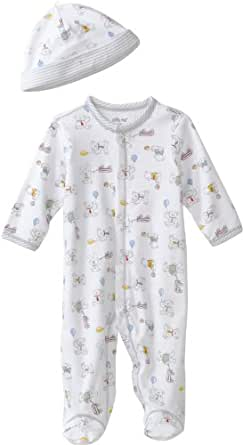 Little Me Baby-Boys Newborn Retro Bears Footie and Hat, White Print, Newborn