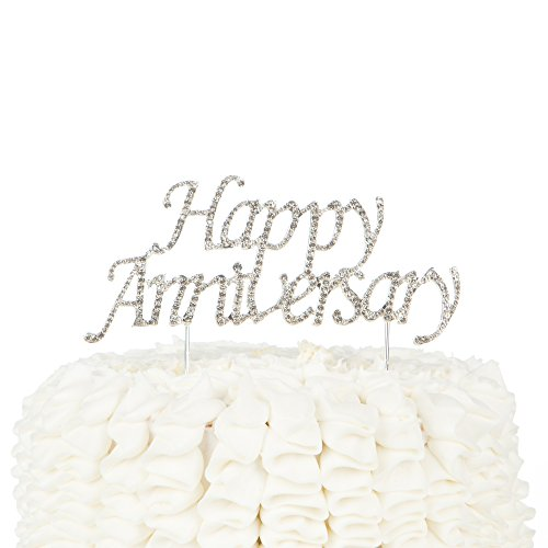 Happy Anniversary Cake Topper Party Supplies Decoration Ideas Gold Rhinestone (Gold)