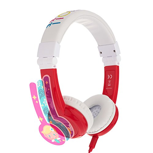 Foldable Headband Design - Explore Foldable Volume Limiting Kids Headphones - Durable, Comfortable & Customizable - Built in Headphone Splitter and in Line Mic - for iPad, Fire, Computers and Tablets - Red