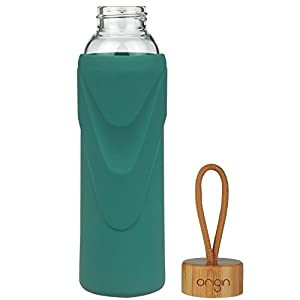 ORIGIN Best BPA-Free Glass Water Bottle With Protective Silicone Sleeve and Bamboo Lid - Dishwasher Safe – 14 Ounce (Seaside Green)