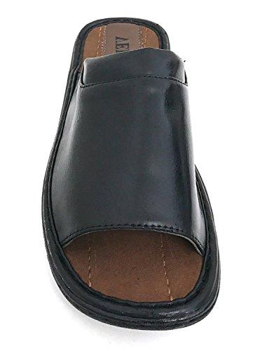 Gflm Sandales Pour Hommes Confortables À Bout Ouvert Tongs Casual Tongs Glisser Sur Glisser Pantoufles Noir-m2