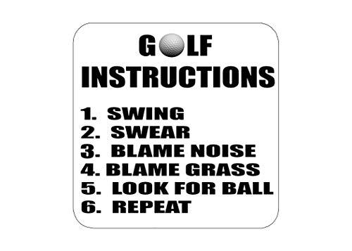 Golf Set Coaster - Funny Golf Instructions Drink Coaster Set Gift For Golfer Dad Grandpa Home Kitchen Bar Barware