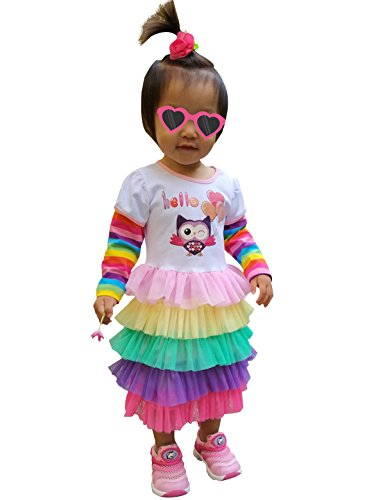 Fubin Rainbow Party Birthday Girl Dress Princess Clothes OWL size (Girls Owl Dress)