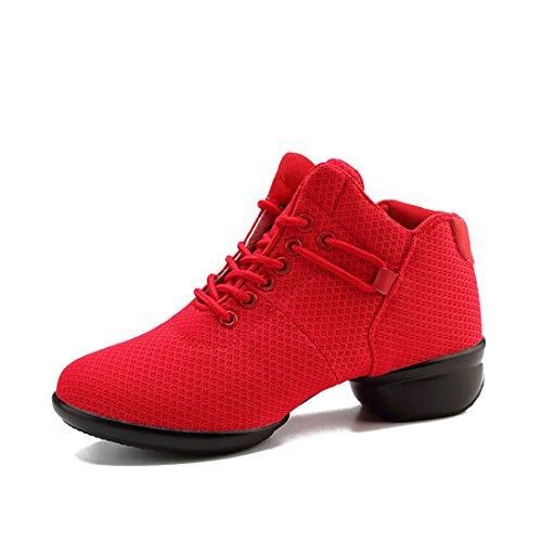 YIBLBOX Damen Sport Fitness Tanz Turnschuh Training Tanzsneaker Websneaker jazzdance Schuhe Dancesneaker Tanzschuhe Rot