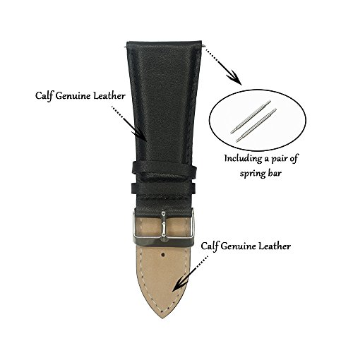 IVAPPON 32mm Leather Watch Band, YQI Men's Solid Color Genuine Leather Watch Strap (Black) by IVAPPON (Image #2)