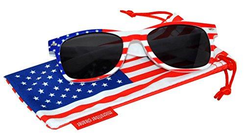 Classic American Patriot Flag Sunglasses USA Smoke Lens White American Flag Frame - Sunglasses Patriotic