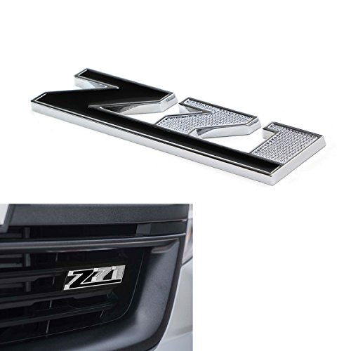 (1) Black Z-71 Front Badge Emblem w/Grille Mount Insert Bracket For Chevrolet Avalanche Silverado Colorado Tahoe Suburban, etc