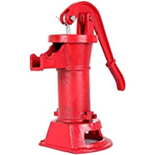 Ambienceo Red Cast Iron Hand Water Pump Hand Press Well Pump Water Pitcher Suction Outdoor Yard Pond Garden