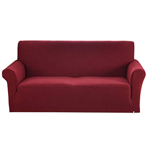 (Argstar Jacquard Couch Slipcover Sofa Cover Soft Elastic Wine Red)