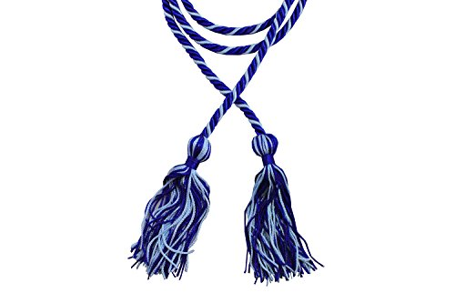 Two-Color Braided Honor Graduation Cords (Royal Blue and Light Blue - Mixed Tassel)