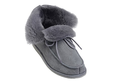 Pantoufles Peau Mouton Chaud W76 Chaussures Chaussons Luxe Doublure Femmes Hommes Gris Laine avec Vogar de tXqYw