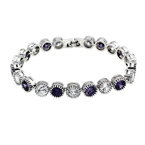 HERMOSA Glowing Ruby Sapphire Citrine Garnet Peridot Amethyst White Topaz Classic Ladies Bracelet 7.1/4 (Amethyst White Topaz)