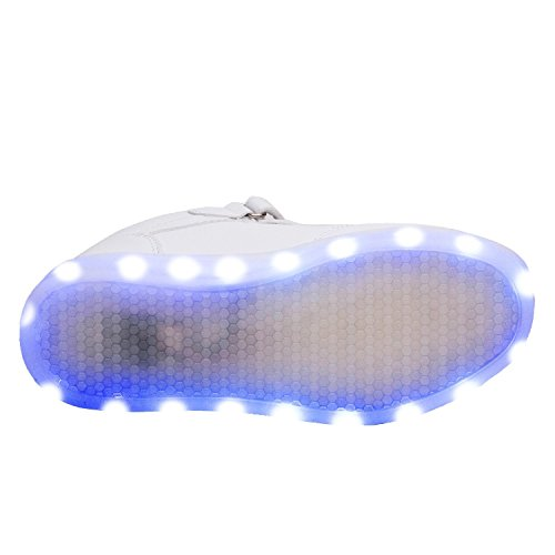 Schuhe der Sommerneuen Kinderflügel USB-Kinder Freizeit Sport LED-Licht Schuhe Weiß