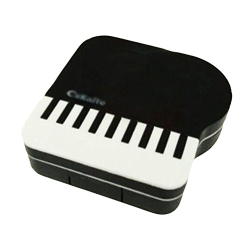 Colored Contact Lenses Cheap (Fashion Artistic Little Piano Contact Lens Cases-Black)