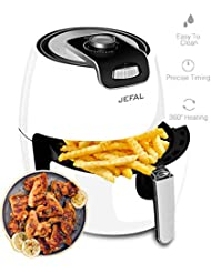 JEFAL Air Fryer - 1500 Watt Electric Non-Stick Air Fryer For Healthy Oil Free Cooking - 3.5 Liter Capacity with Dishwasher Safe Parts,3.6QT,White
