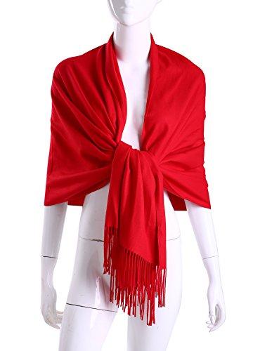 Formal Dress Shawls - MuNiSa Women's Large Soft Pashmina Cashmere Blend Shawls Wrap Stole Scarf with Tassel (Red)