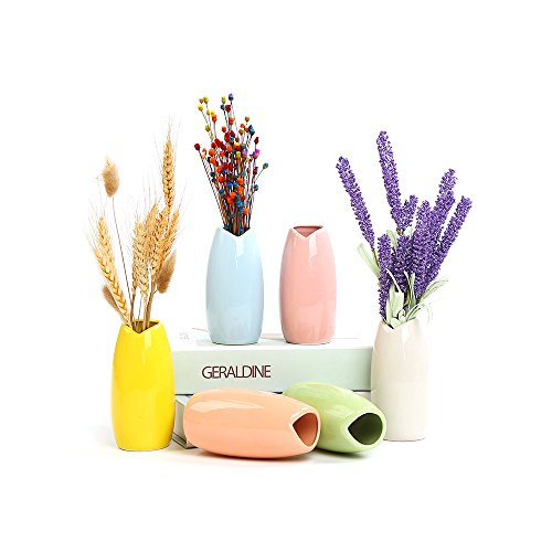 SUN-E Ceramic Bud Vases Modern Style Glass Pottery Flower Vase, Decorative Vase Multicolor Home Decor Weddings 6 In Set(4.6Inch) (Style-V-001)