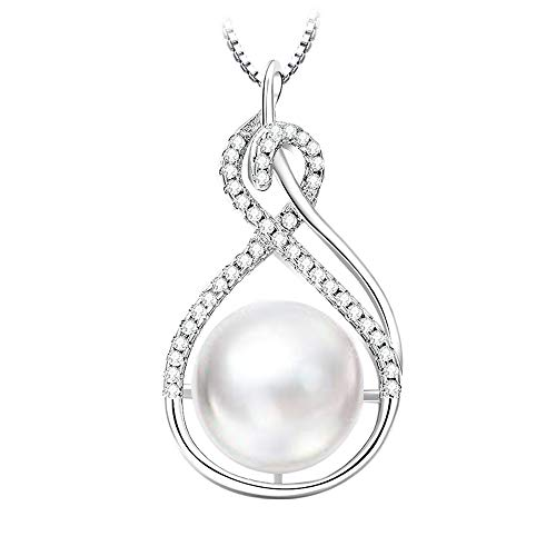 SHINLURY 10 mm Pearl Jewelry Gifts Pendant Necklaces for Women Infinity Birthstone Jewelry Birthday Gifts for Women