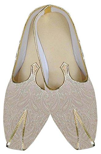 Inmonarch Mens Ivoire Brocade Indienne Chaussures De Mariage Mj0163